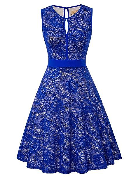 ccc7761cc Kate Kasin Women's Floral Lace A-Line Flare Dress Size L Royal Blue KK1247-