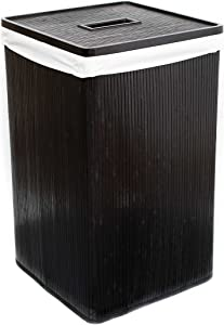 BIRDROCK HOME Bamboo Laundry Hamper - Dark - Square - Machine Washable Cotton Canvas Liner