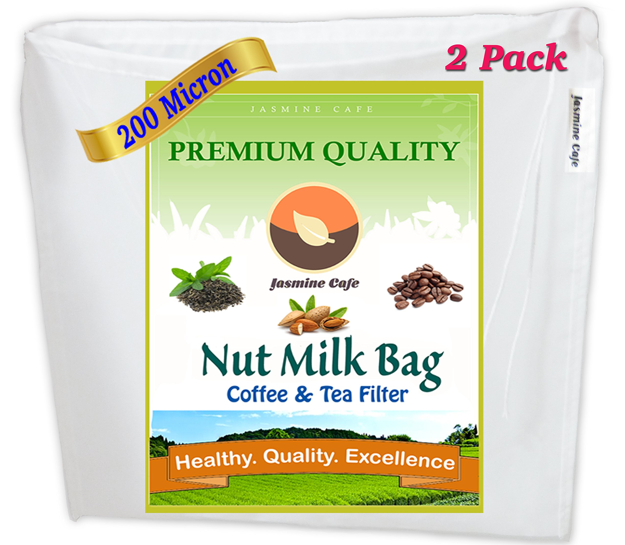 2 Pack [13''x13''] 200 Micron - Commercial Grade Jasmine Cafe Nut Milk Bag & All Purpose Food Strainer - Fine Mesh Cold Brew Coffee & Tea Filter - Reusable, Safe & Eco-Friendly