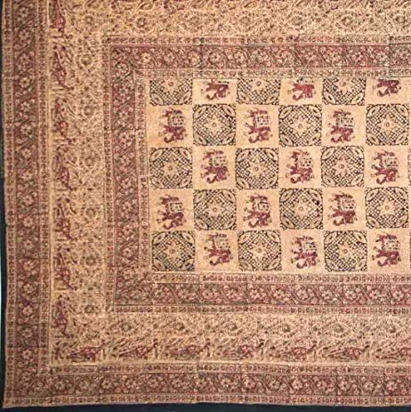 Handmade Elephant Batik Block Print Tablecloth Tapestry Bedspread Beach  Sheet Picnic Blanket 100% Cotton Twin