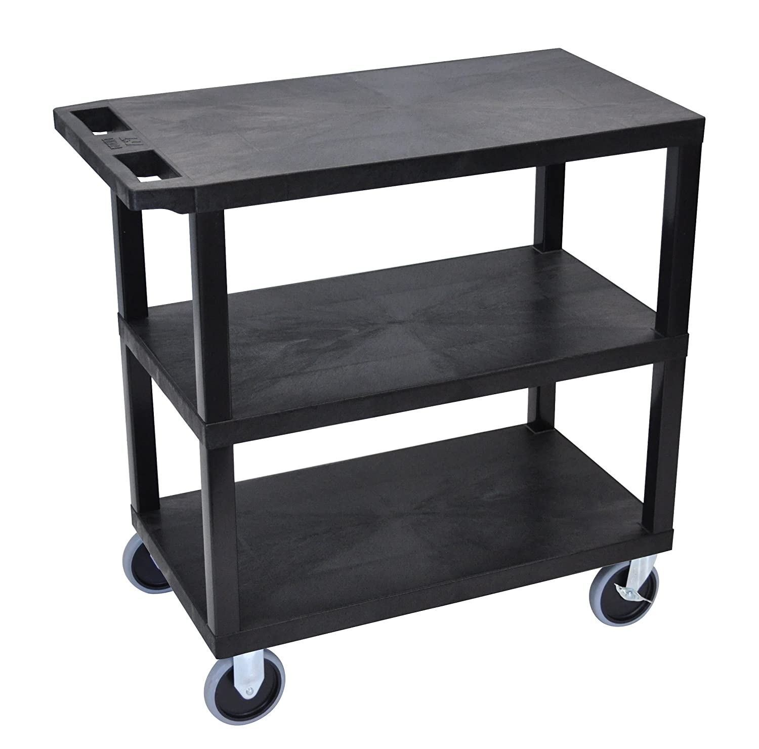 LUXOR EC222HD-B Cart with 3 Flat Shelves, 18 x 32, Black 18 x 32 LUXEC222HD-B