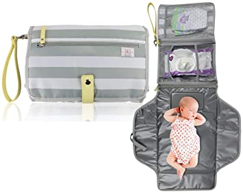 For Infants /& Newborns Foldable /& Detachable design Travel Changing Mat Carry Handle /& Convenient Pockets Waterproof Baby Changing Station Padded /& Integrated Pillow Feature