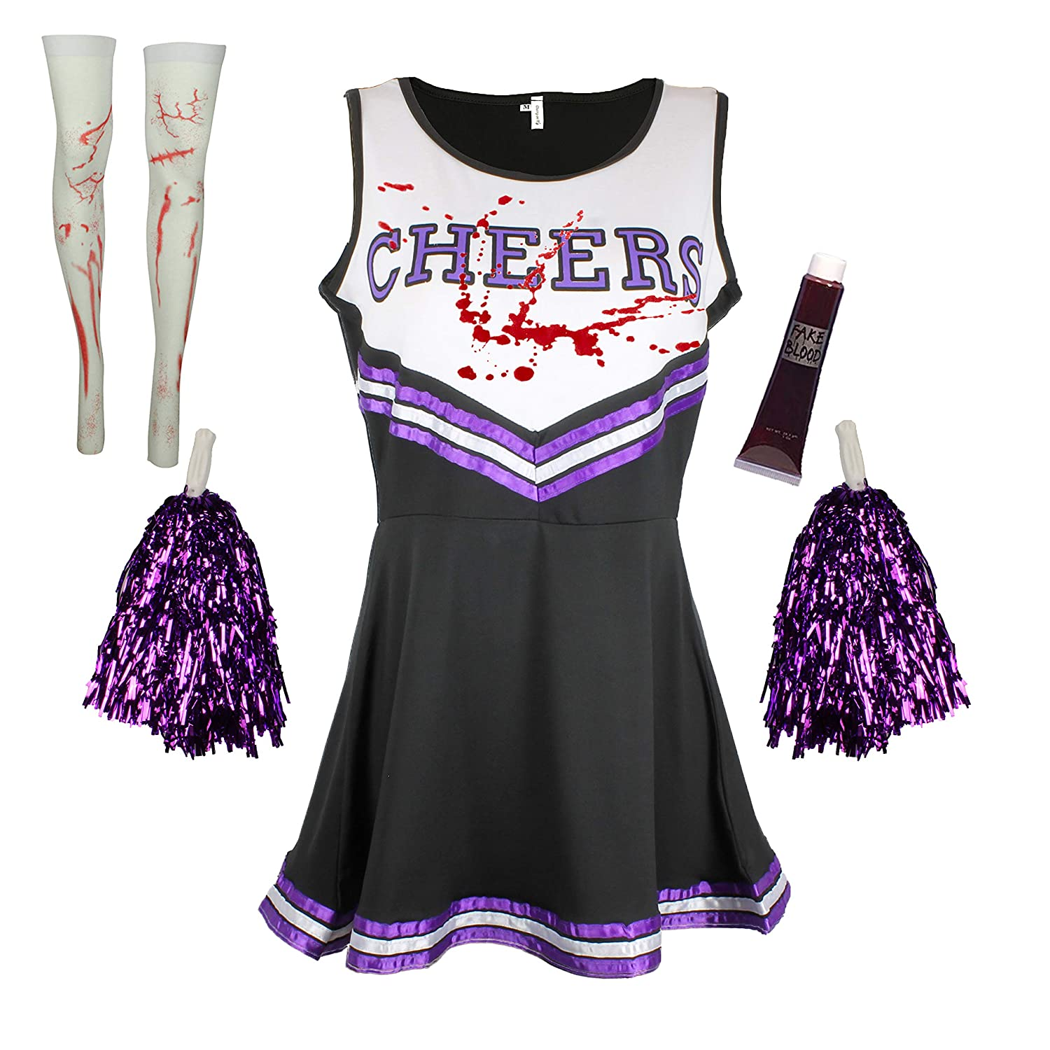 ZOMBIE CHEERLEADER FANCY DRESS OUTFIT COSTUME WITH A BLOOD AND STOCKINGS