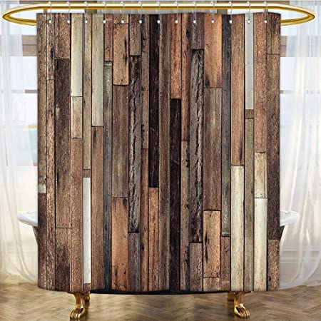 AmaPark Water Repellent Fabric Shower Curtain or Liner Wooden Brown ...