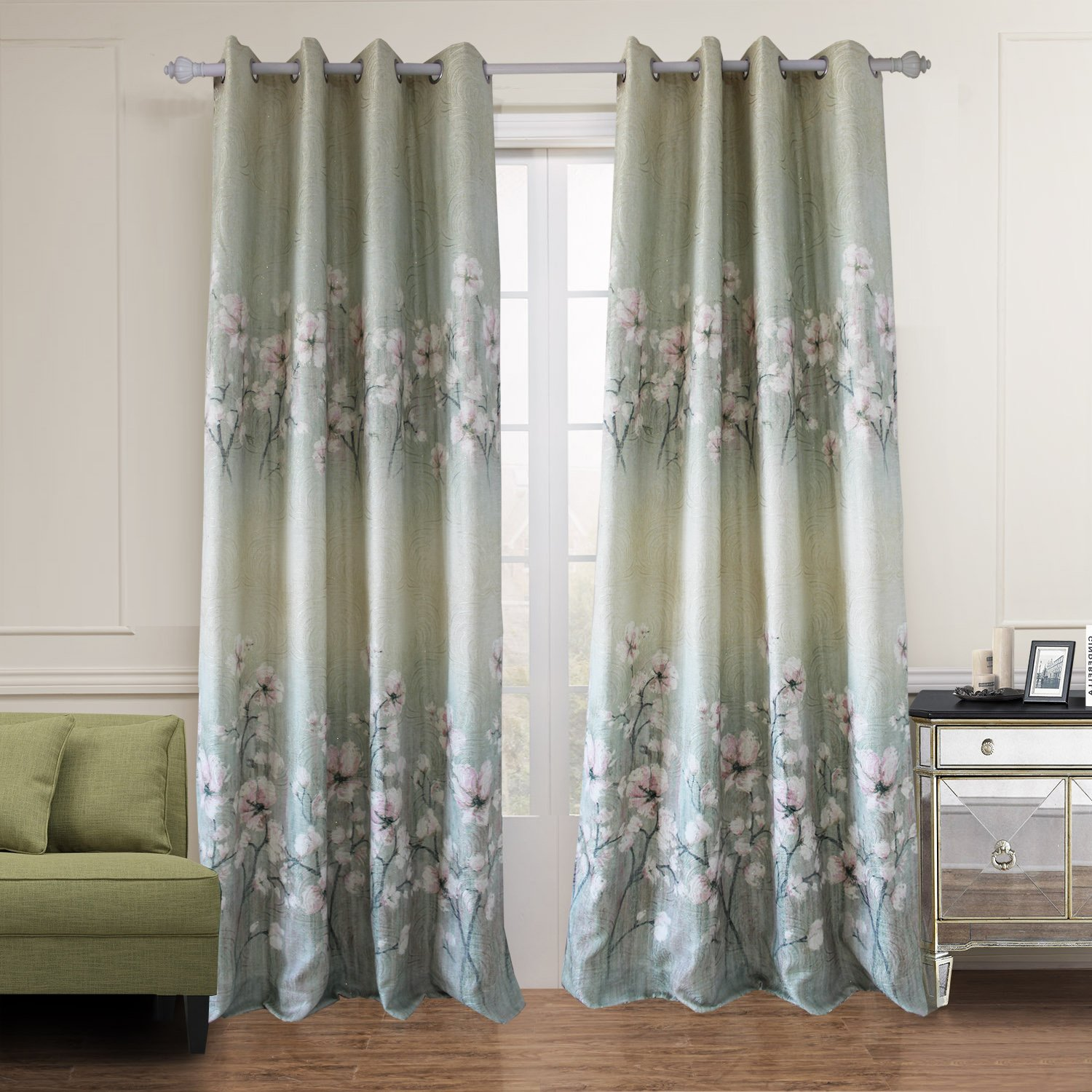 Amazon Anady Top Gold Lurex Greenpink Flower Curtains Drapes