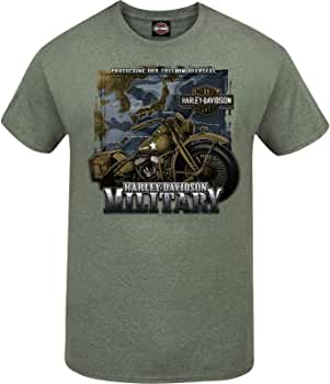 Mens Long-Sleeve Graphic T-Shirt Overseas Tour Big V-Twin HARLEY-DAVIDSON Military
