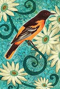 Toland Home Garden Baltimore Oriole 12.5 x 18 Inch Decorative Spring Flower Bird Branch Garden Flag