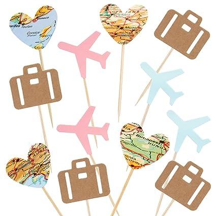 Newqueen - Pack de 24 púas para decoración de cupcakes ...