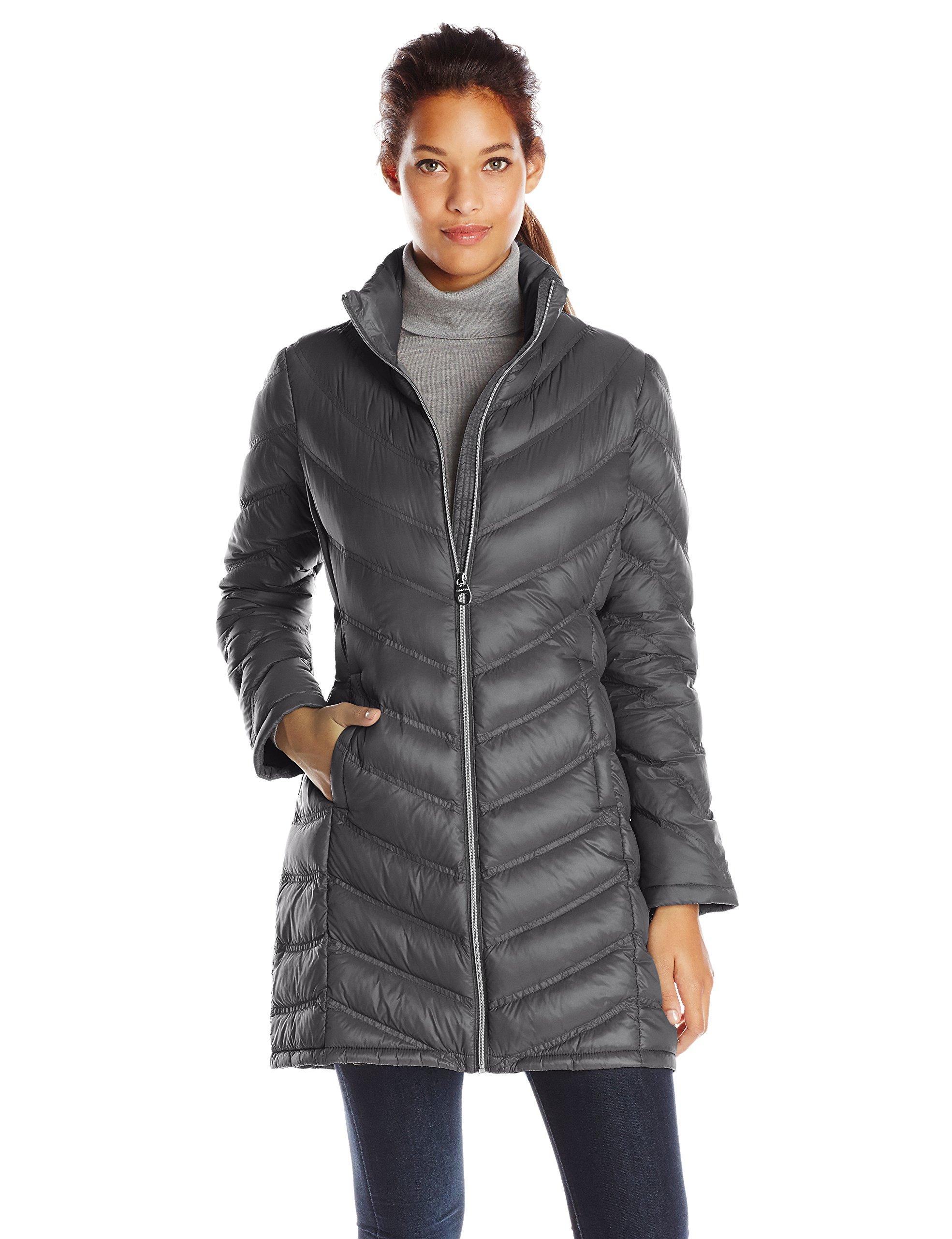 Calvin Klein Women's Chevron Packable Down Coat, Titanium, X-Small