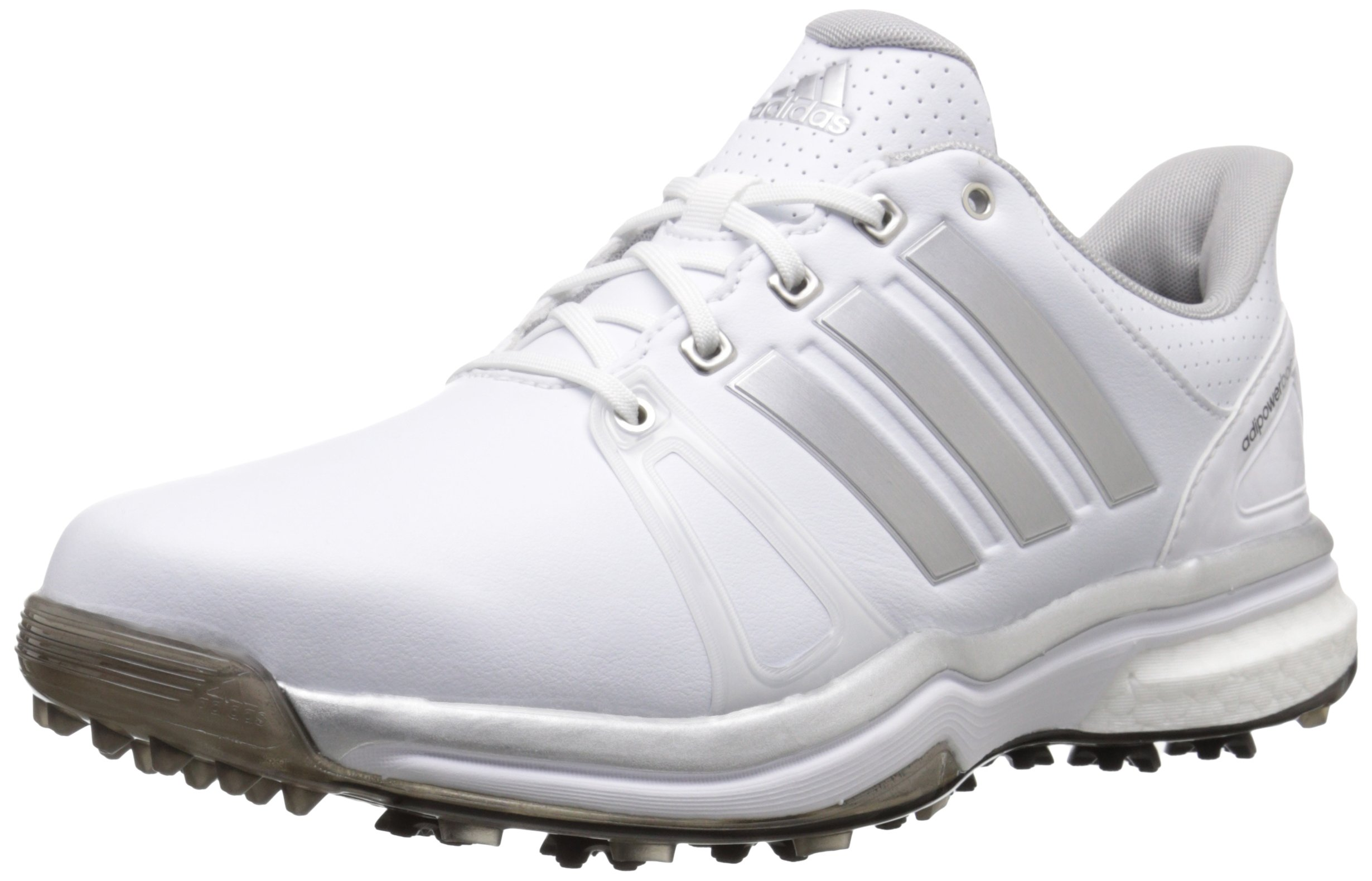adidas Men's Adipower Boost 2 Golf Cleated, FTWR White/Silver Metallic/Core Black, 11 M US