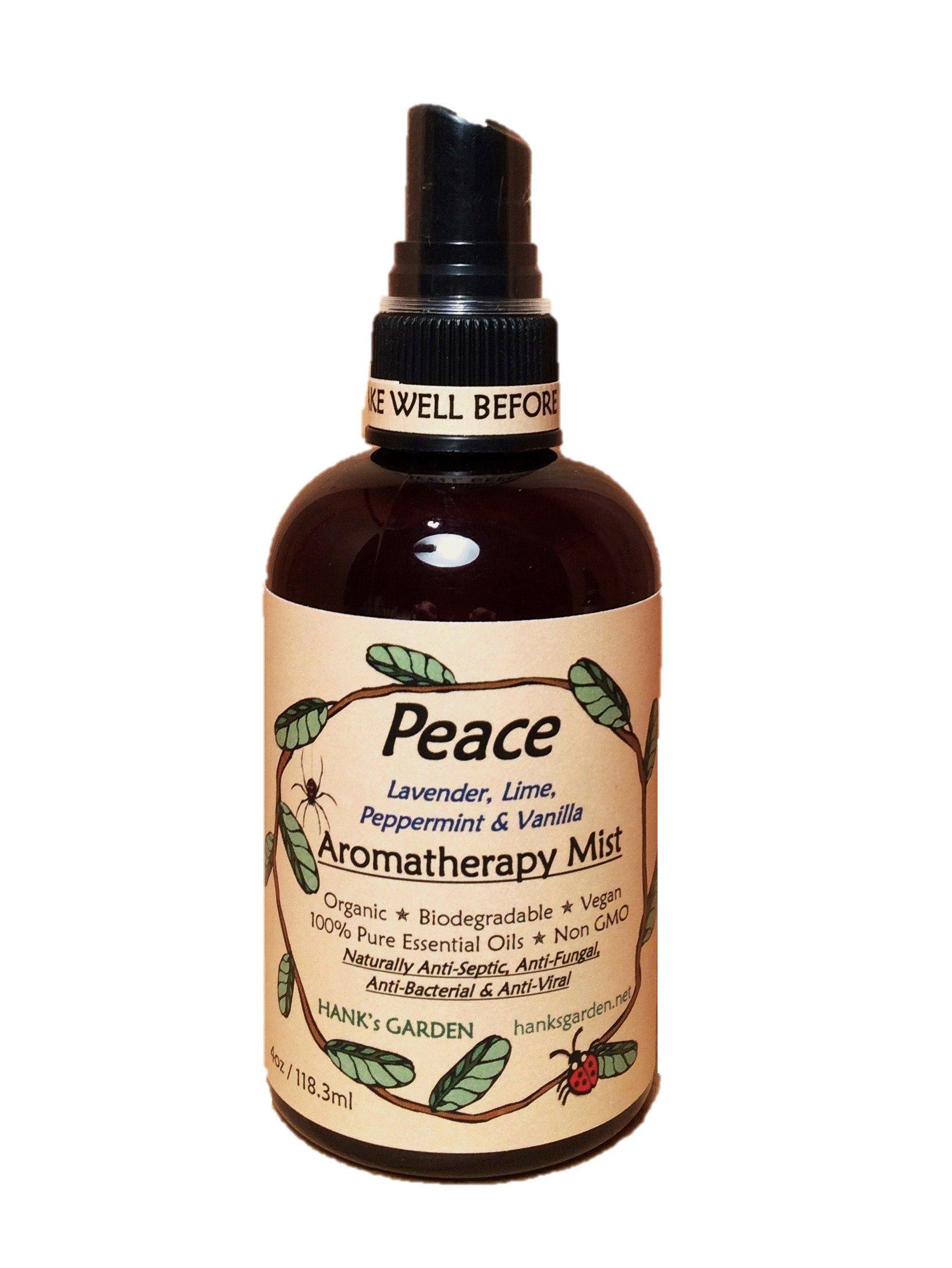 Peace Aromatherapy Body & Room Spray Mist-All Natural Earth Friendly - Vegan-Organic-Non GMO-Essential Oils of Lavender, Lime, Peppermint & Vanilla - (8 oz)