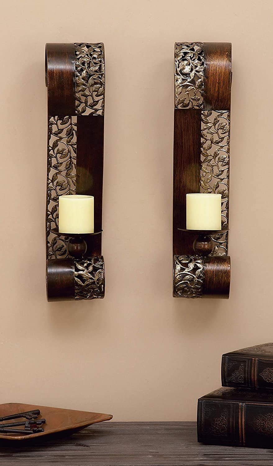 """Deco 79 Metal Candle Sconce Set of 2, 21""""H x 4""""W: Furniture & Decor"""