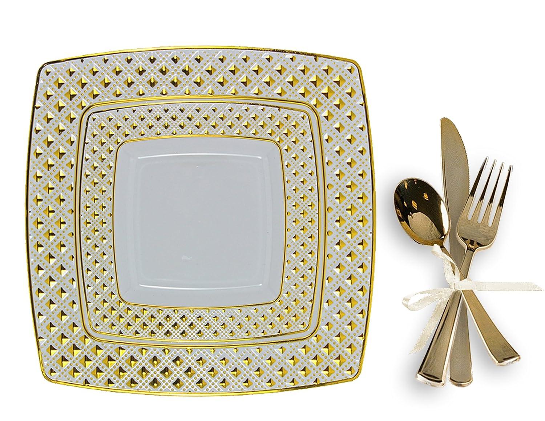 Tigerシェフゴールド、プラスチック、ウェディングパーティー食器類プレートwith Silverwareセット、は、プレート9.75-inch、6インチプレート、使い捨てゴールドフォーク、スプーン、ナイフ、BPAフリー (Service for 40) ゴールド heavy duty plastic plates for wedding B077TBKP2G (Service for 40)|Gold Diamond Gold Diamond (Service for 40)