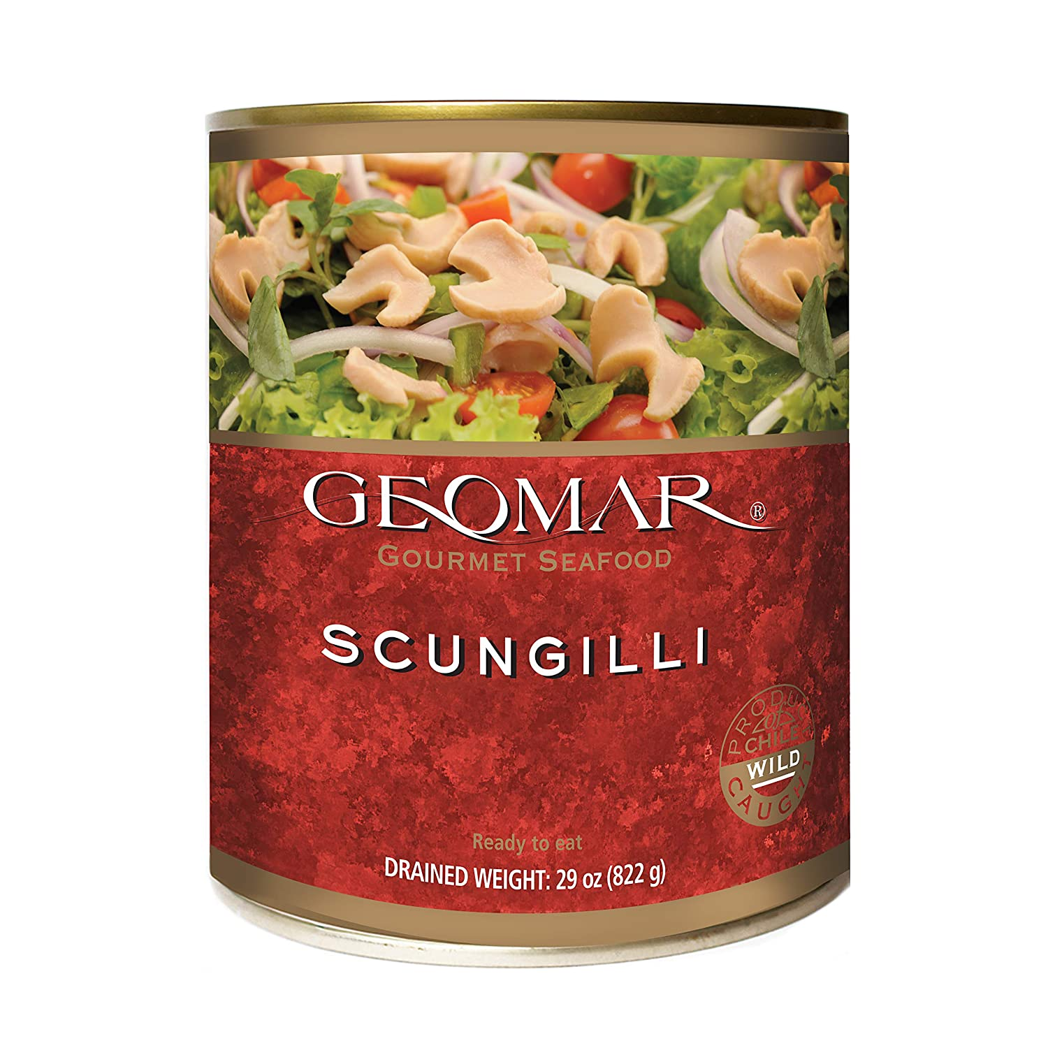 Canned Scungilli by GEOMAR – 28 Ounce Can Sliced Conch Meat – Premium Sustainable Food Ready to Eat – All Natural No Gluten and High Protein Concentration – Hand Picked and Selected By Fishermen