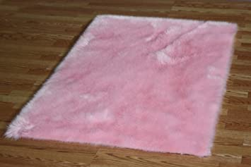 Flokati Faux Fur Rugs 5u0027 X 8u0027 (PINK)