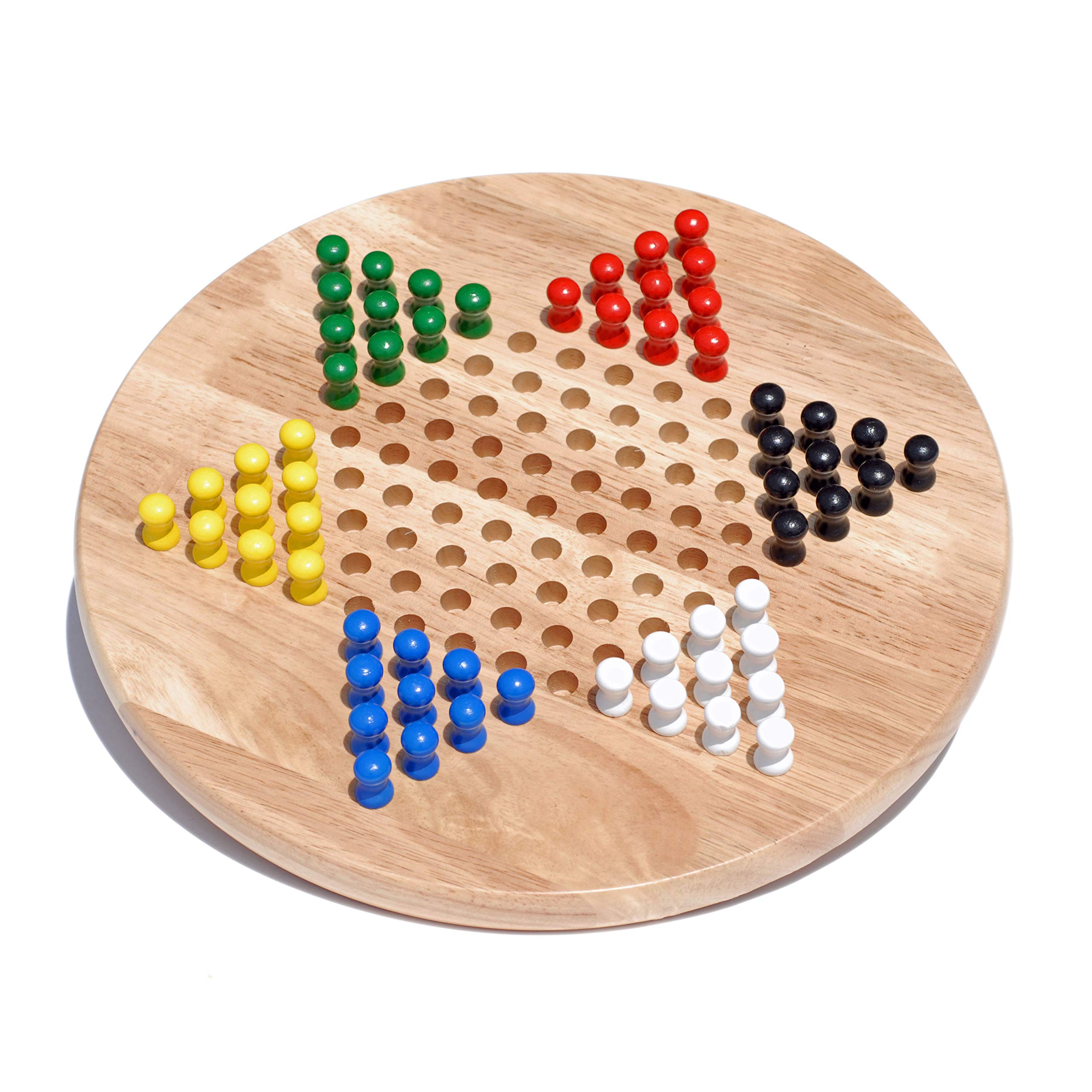 WE Games Solid Wood Chinese Checkers Board Game with Pegs- 11.5 in.