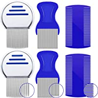 6 Pieces Head Lice Comb Set Hair Comb Fine Combs, 3 Styles, Suitable for All Different Kinds of Hair, to Get Ride of Flea, Lice and Dandruff Flakes (Green, Blue)