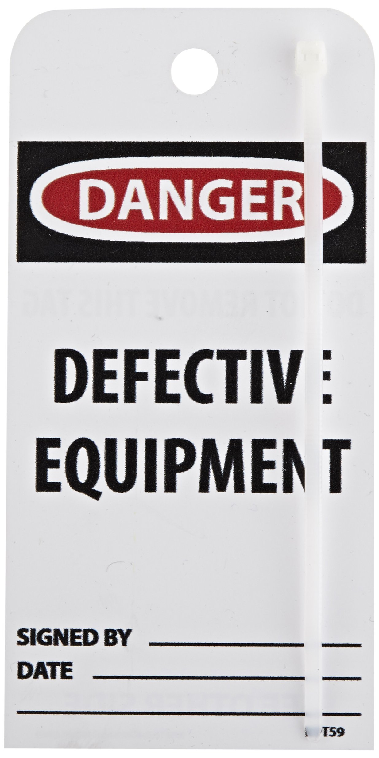 NMC RPT59''DANGER - DEFECTIVE EQUIPMENT'' Accident Prevention Tag, Unrippable Vinyl, 3'' Length, 6'' Height, Black/Red on White (Pack of 25)