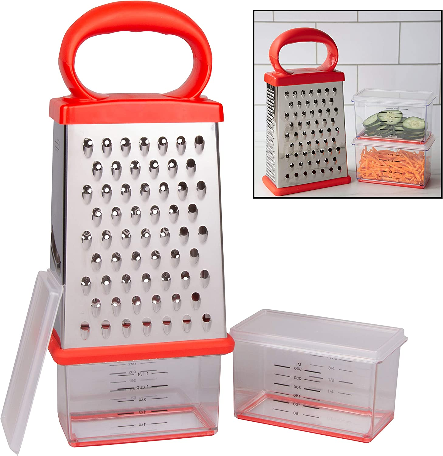 Box Cheese Grater W 2 Attachable Storage Containers 4 Sided Stainless Steel Slicer And Shredder 2 Hoppers For Cheeses Vegetables Chocolate Soft Grip Handle And Non Slip Base Amazon Ca Home Kitchen