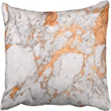 Emvency Decorative Throw Pillow Cover Square Size 20x20 Inches White Marble Copper Decor Pillowcase With Hidden Zipper Decor Fashion Cushion Gift For Home Sofa Bed Car
