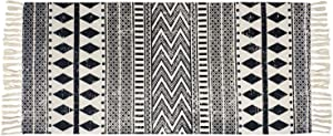USTIDE Cotton Tassel Kilim Black&Cream Laundry Room Boho Rug Hand Woven Braided Doormat for Bathroom Porch Bedroom,2'×4.3'