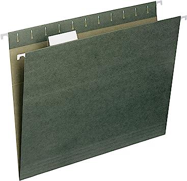 Hanging File Folders Letter 1//5 Tab Standard Green 25//Box