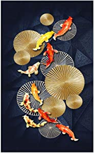 """Liuqidong Wall Art Chinese Style Red Koi Lucky Carp Canvas Painting Nordic Goldfish Poster Home Decor Picture Annual Ring 7.9""""x15.7""""(20x40cm) No Frame"""