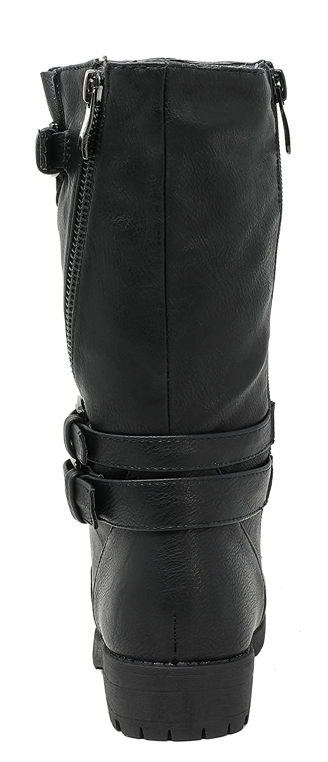 Dream Pairs Girls Toddler//Little Kid//Big Kid Faux Fur Lining Winter Motorcycle Riding Boots