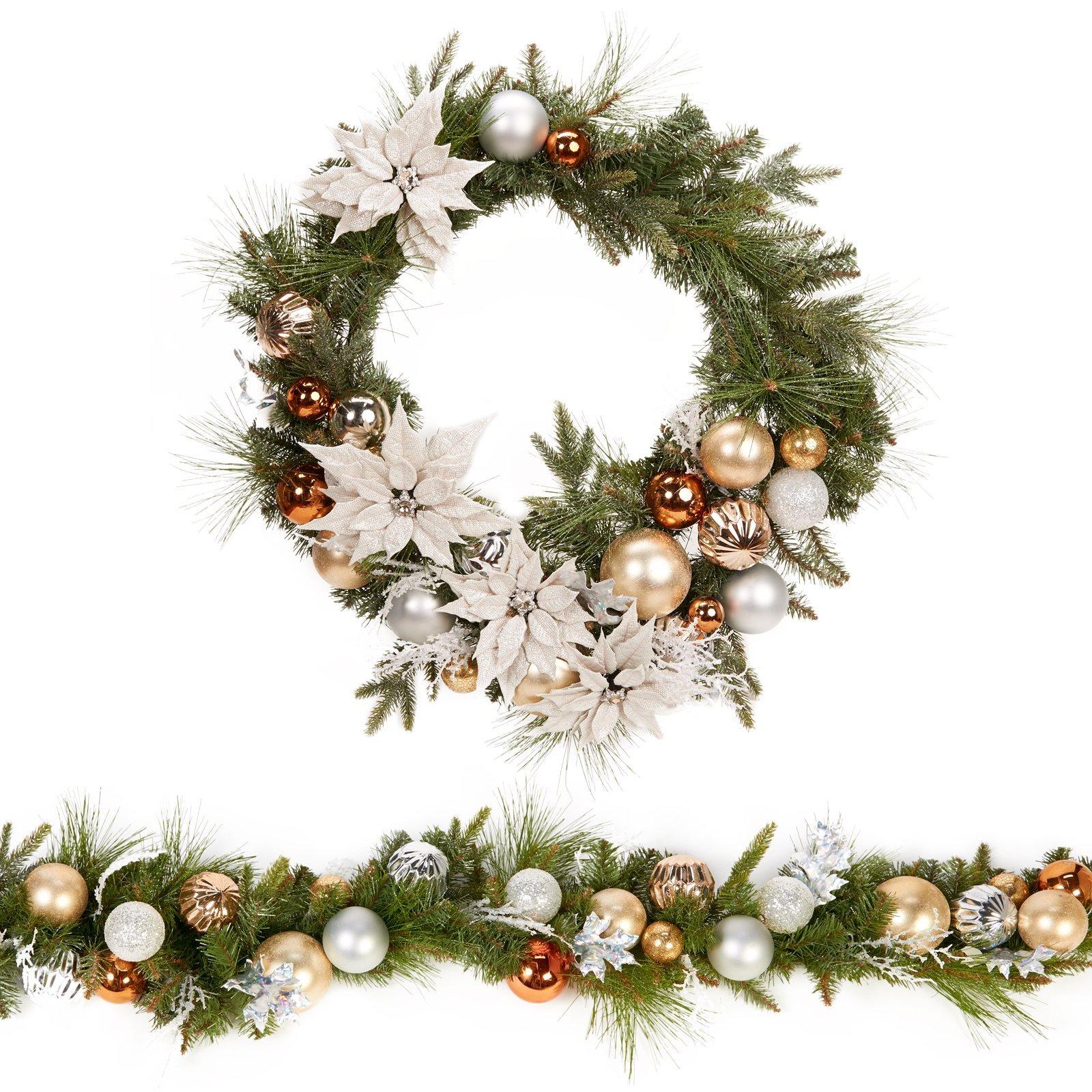 Vibrant Metallic Christmas Holiday Wreath & Garland Set