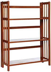 Yu Shan 3 Shelf Folding Stackable Bookcase, Honey Oak