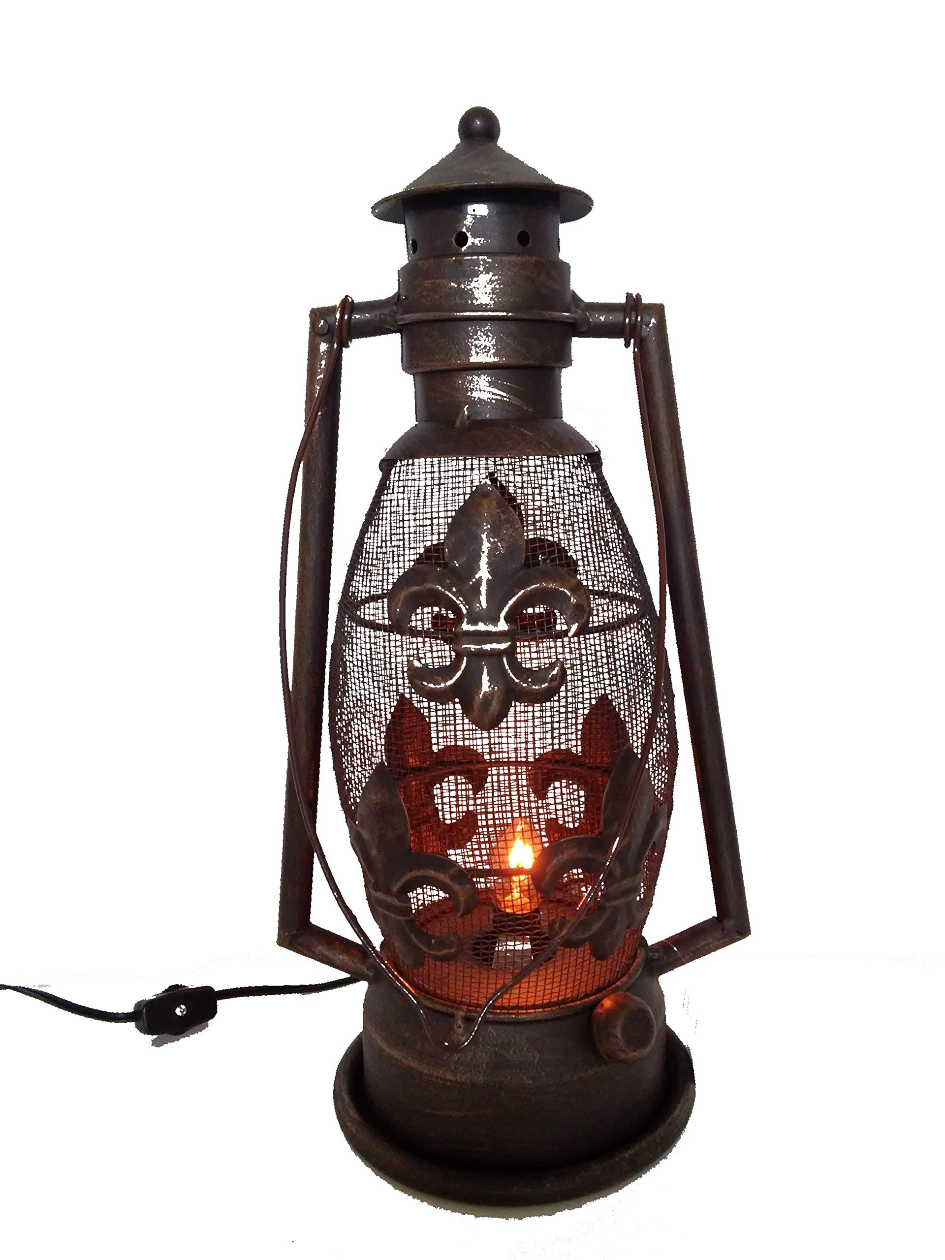 S.Star Fleur De Lis Metal Electric Lantern 15.25'' Tall 7.5'' Wide (Dark Brown/Bronze)