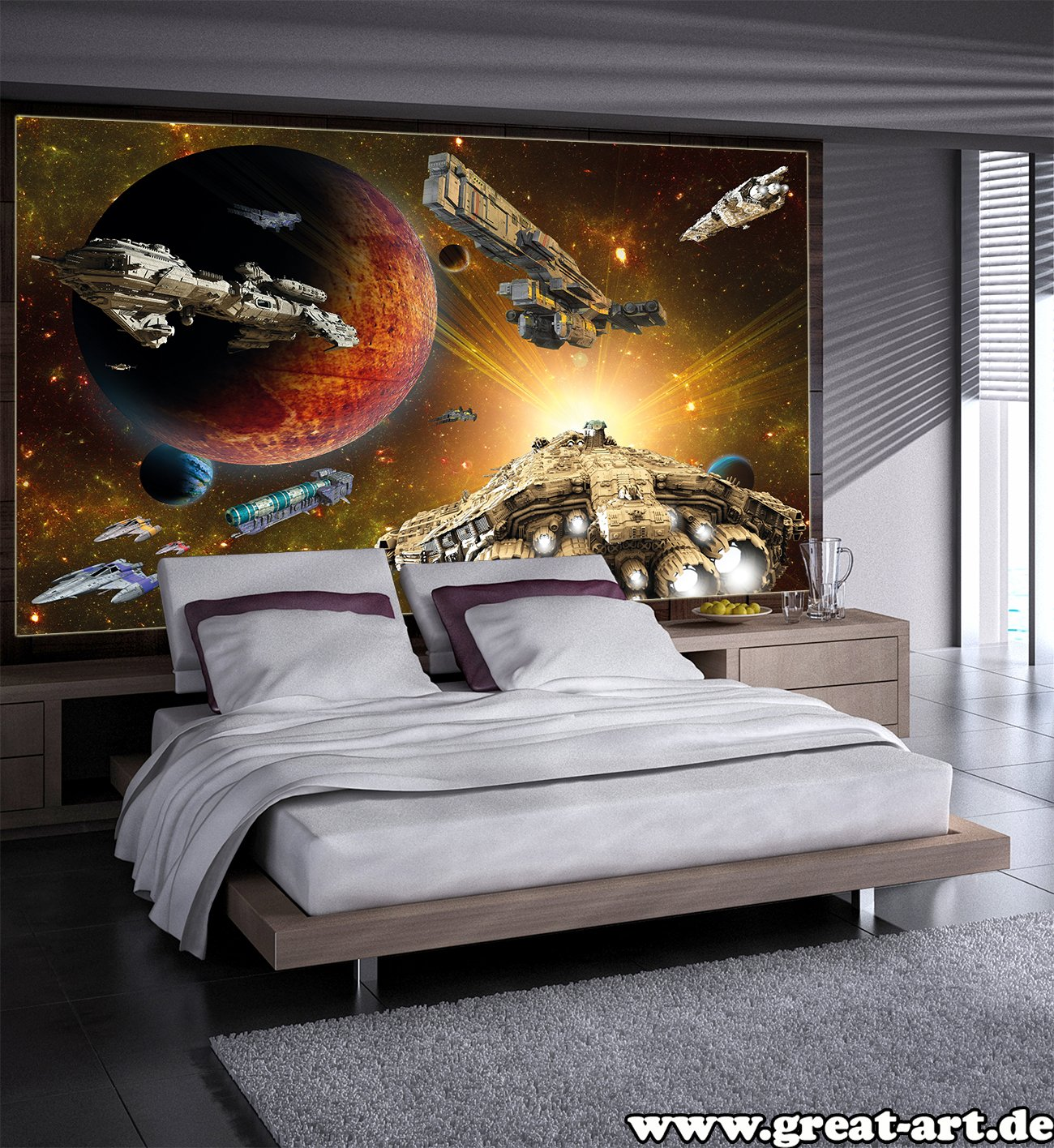 Space Bedroom Wallpaper Wallpaper Galaxy Adventure Wall Picture Decoration Space Flight