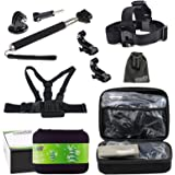 EEEKit Travel Accessory Kit for Activeon CX Action Cam/EKEN H8 Pro/ YI 4K Action Camera, Chest Harness Mount + Head Strap mount + Selfie Stick Pole + Middle Carrying Case