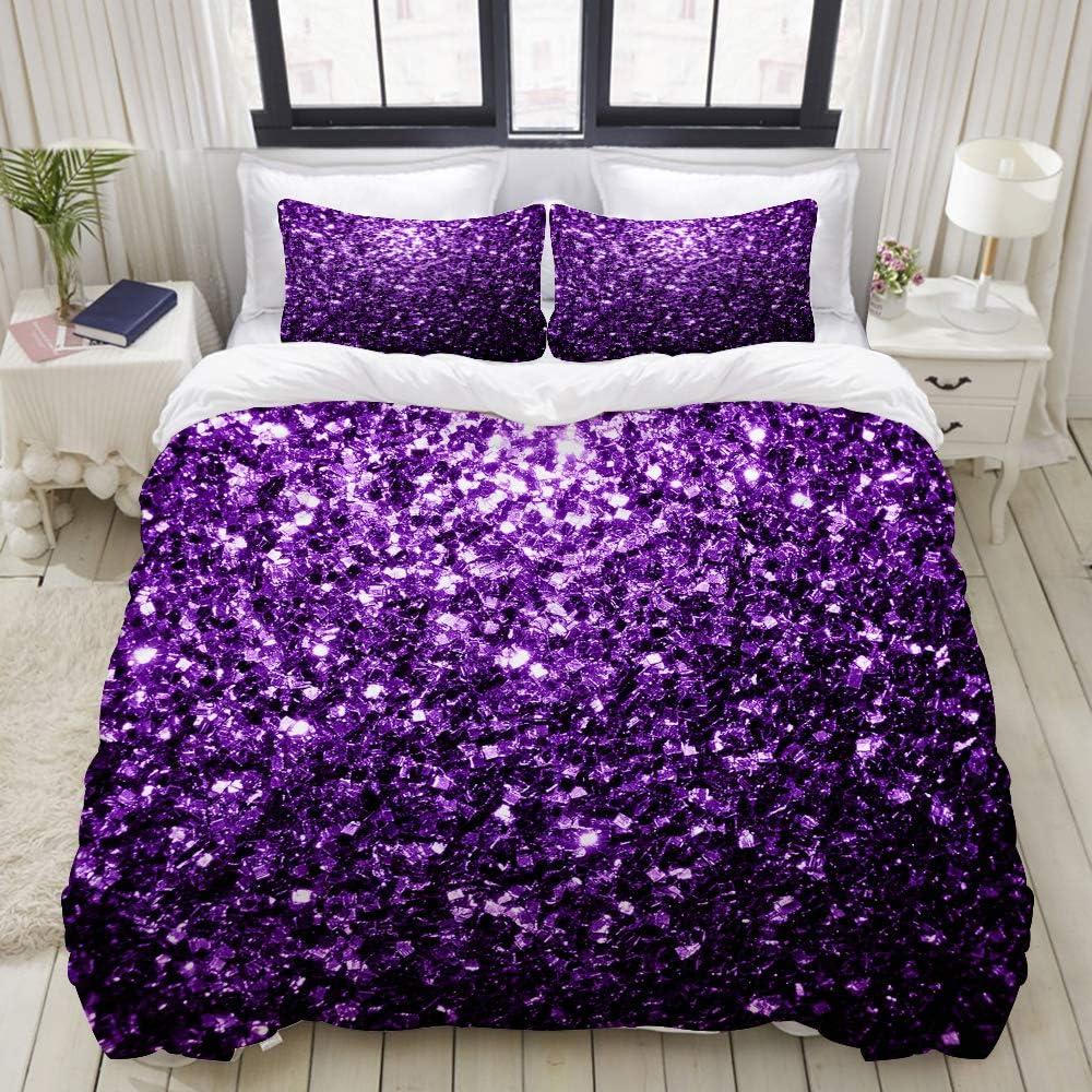 BOKEKANG Duvet Cover Set Beautiful Dark Purple Glitter Sparkles Lightweight Dorm Decorative Theme 3 Piece Bedding Set with 2 Pillow Shams Twin/Twin XL