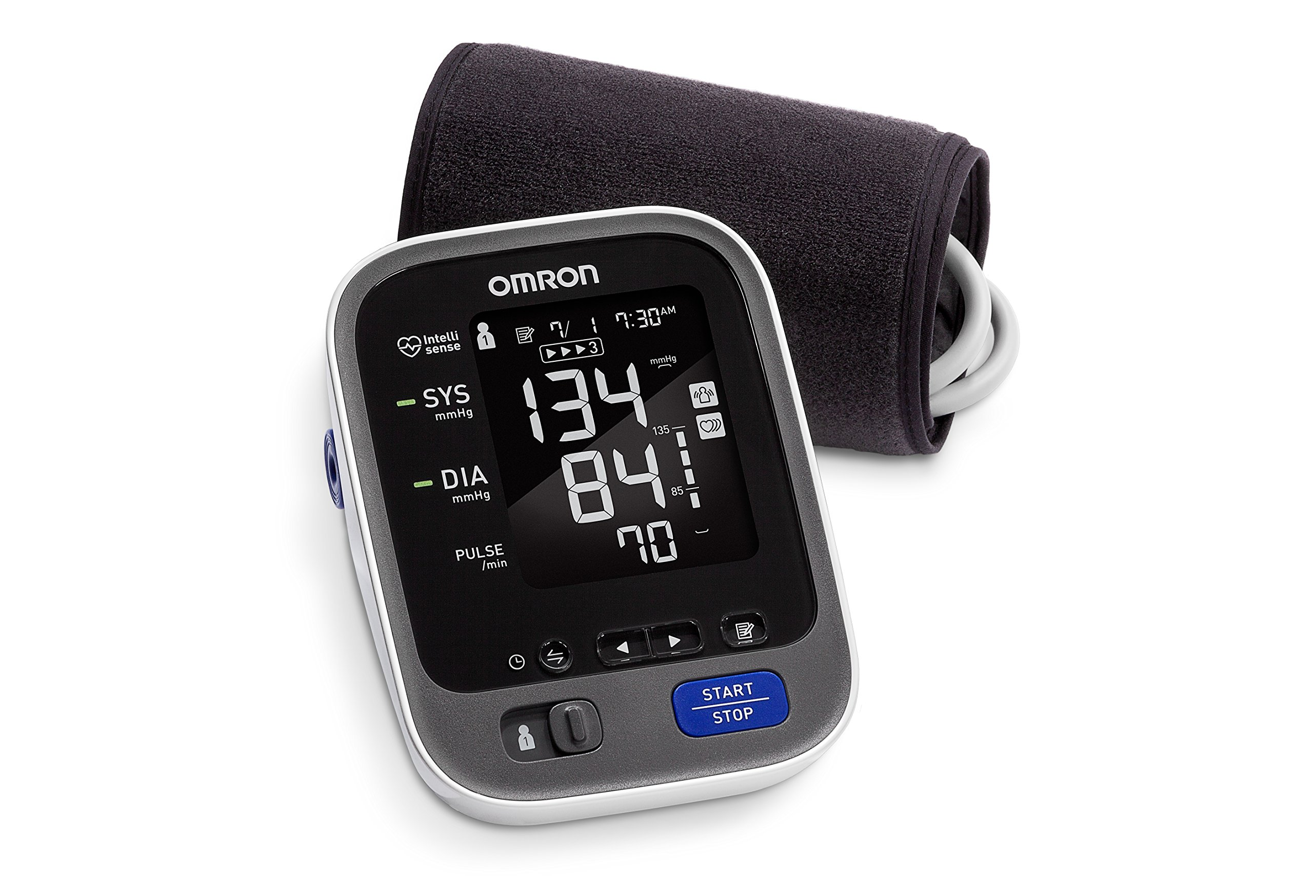 Omron 10 Series Wireless Upper Arm Blood Pressure Monitor; 2-User, 200-Reading Memory, Backlit Display, TruRead Technology, Bluetooth® Works with Amazon Alexa by Omron by Omron