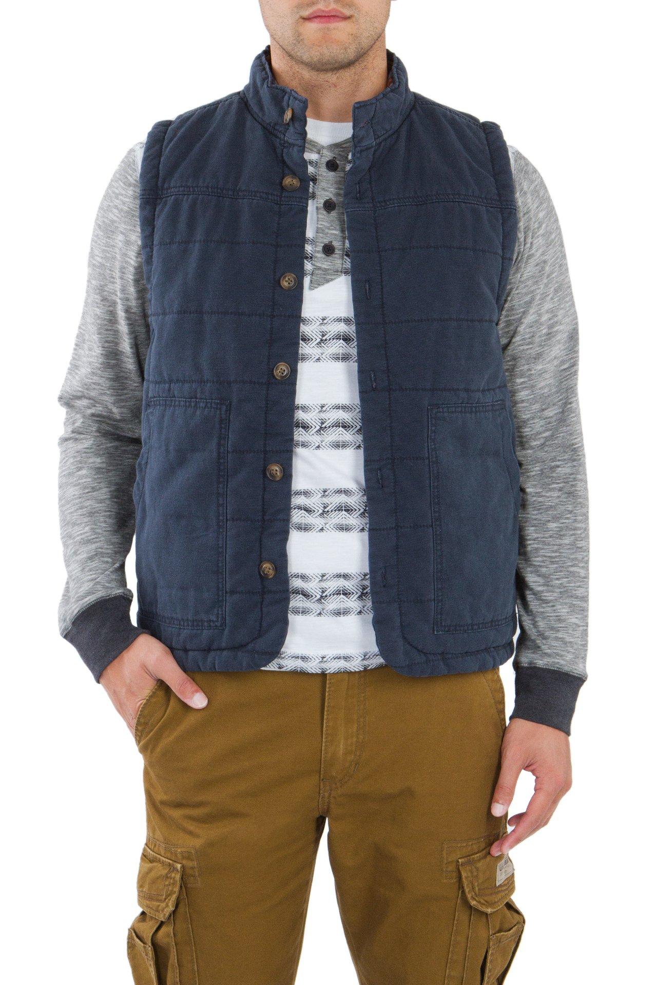 UNIONBAY Men's Flannel Lined Canvas Vest, Twilight, Small