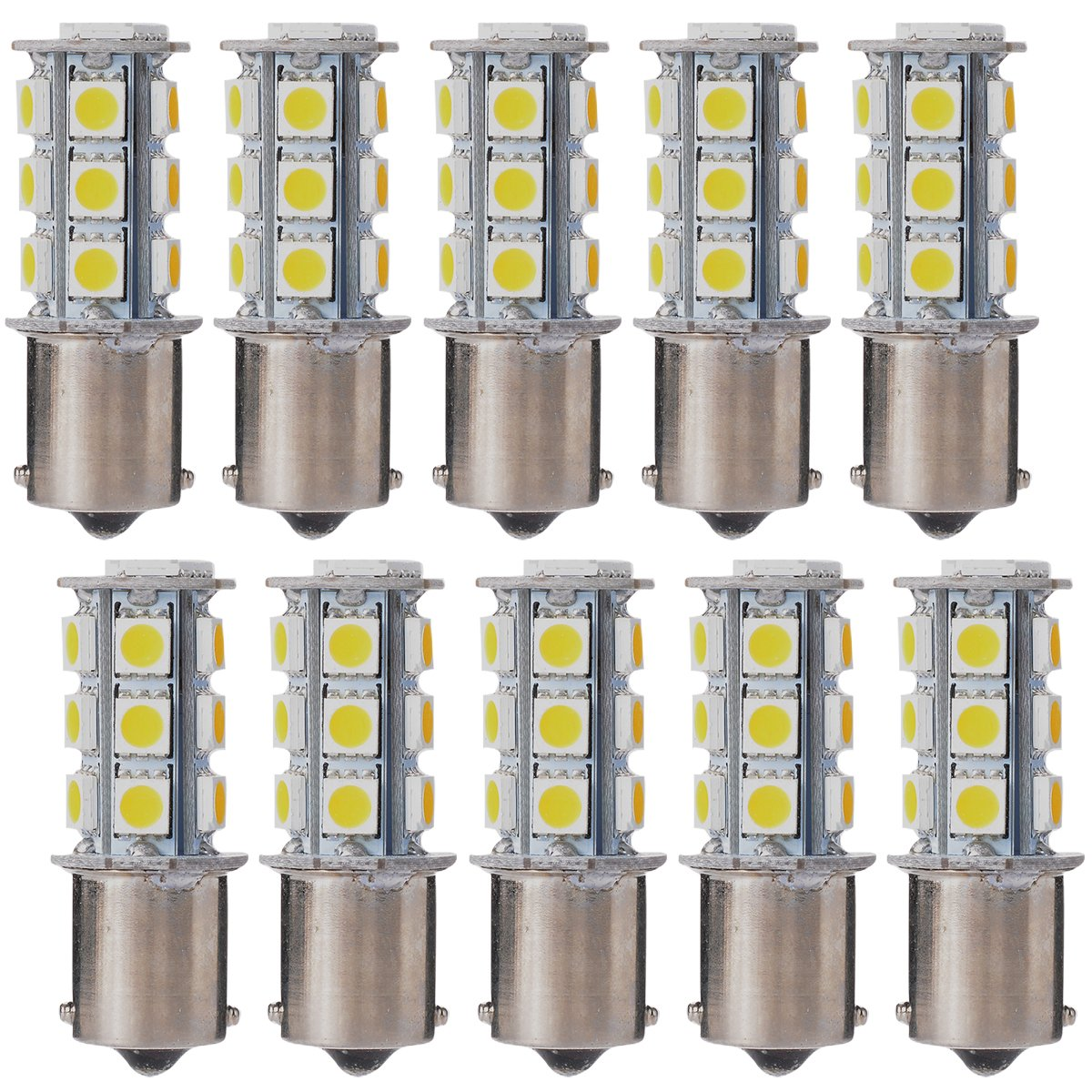 XCSOURCE 10X Warm White 1156 BA15S / 1141 / 1073 / 1095 Base 18 SMD 5050 LED Replacement Bulb For RV Camper SUV MPV Car Turn Tail Signal Brake Backup Light MA241 FBA_MA241