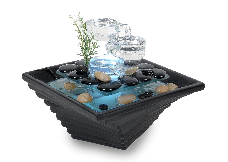 WeiVa Feng Shui Keramik - Glas Zimmerbrunnen mit LED Beleuchtung 29050