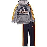 adidas boys Pullover Sweatshirt & Tricot Jogger Active Clothing Set