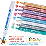PuTwo Acrylic paint pens, 8 Pcs Acrylic Pens Acrylic Marker Pens with 1 Stain Pen, Water Proof Acrylic Paint Marker Pens Colouring Pens Scrapbook Pens Glass Pens Permanent for Rock, Canvas, DIY Crafts