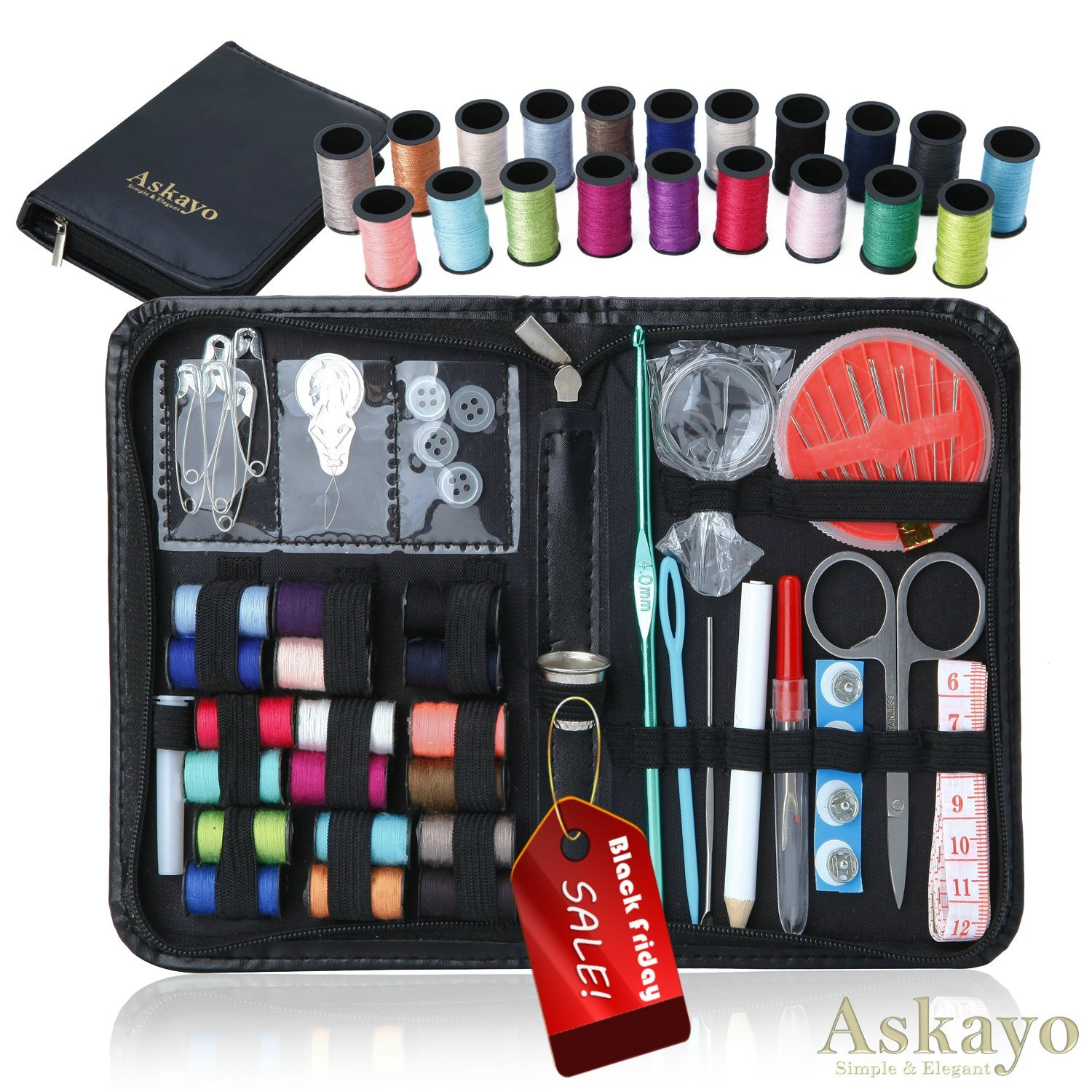 Askayo Sewing Clothing Repair Kit with Needles, Scissors, Thimble, 38-Count Colored Thread Spools and Zipper Carry Case Yiwu Pride Bag Factory 4336938098