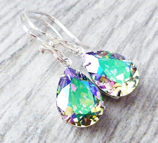 55cfd8bea Amazon.com: Paradise Prism Swarovski Crystal Drop Earrings, Rainbow  Rhinestone Pear Earrings, Sterling Silver: Handmade