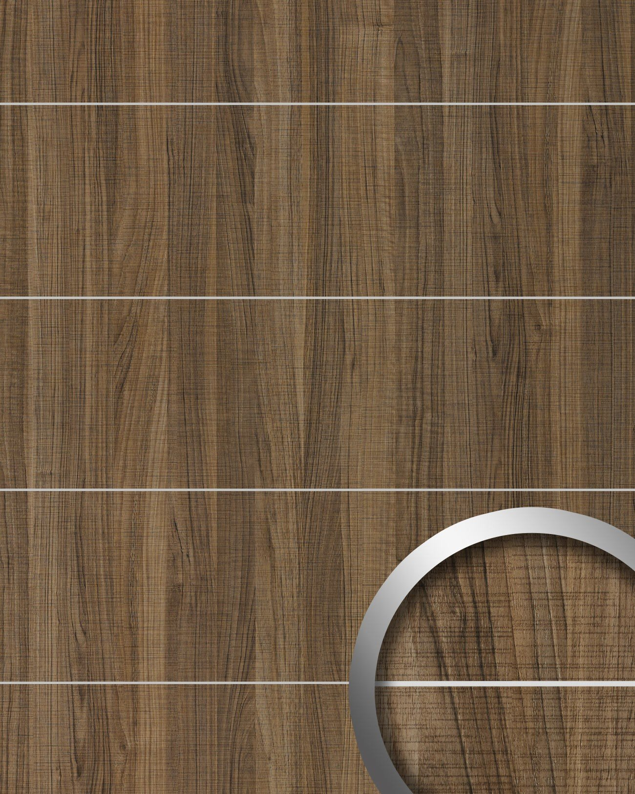 Wall panel wood look WallFace 19100 NUTWOOD COUNTRY 8L walnut wood decor brushed metal strips self-adhesive wall panelling brown | 28 sq ft (2.60 sqm)