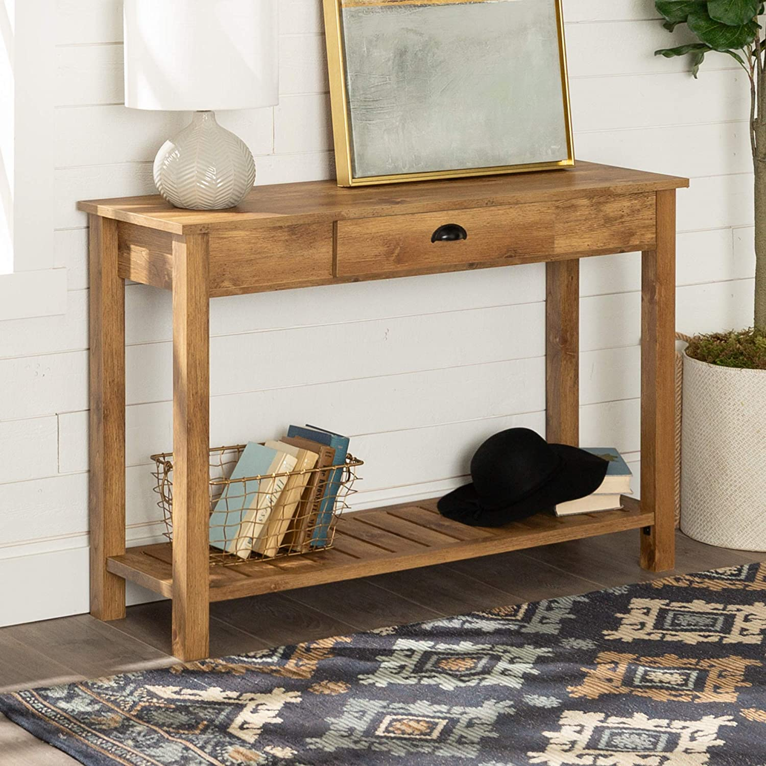"Amazon.com: WE Furniture Country Style Entry Console Table - 48"", Barnwood:  Kitchen & Dining"