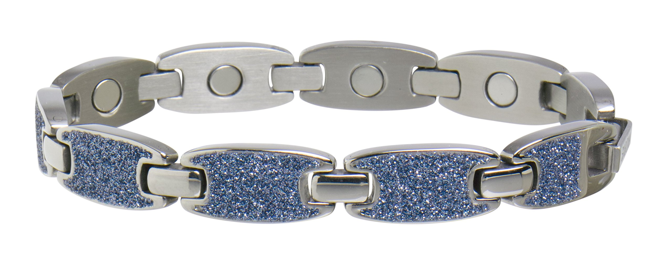 Sabona 28165 Caribbean Ocean Magnetic Bracelet in Silver, 0.1 Ounce