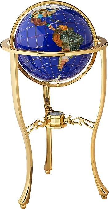 LAPIS INLAY GEMSTONE WORLD GLOBE JASPER 25MM PENDANT INLAY NECKLACE