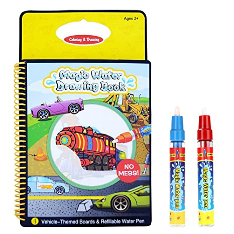 New Water Coloring Book,Magic Water Drawing Book,Vehicle-Themed Reusable Colo..