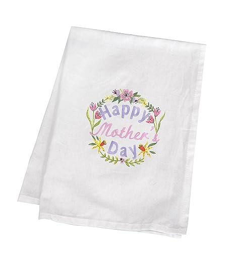 Día de la madre regalo, Impreso Algodón Toalla de té con pintado a mano Happy