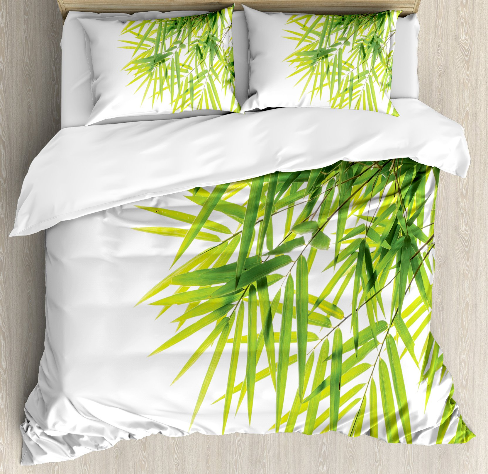 Bamboo House Decor Duvet Cover Set by Ambesonne, Bamboo Leaf Illustration Icon for Wellbeing Health Fresh Purity Tranquil Art Print, 3 Piece Bedding Set with Pillow Shams, King Size, Green White by Ambesonne (Image #1)