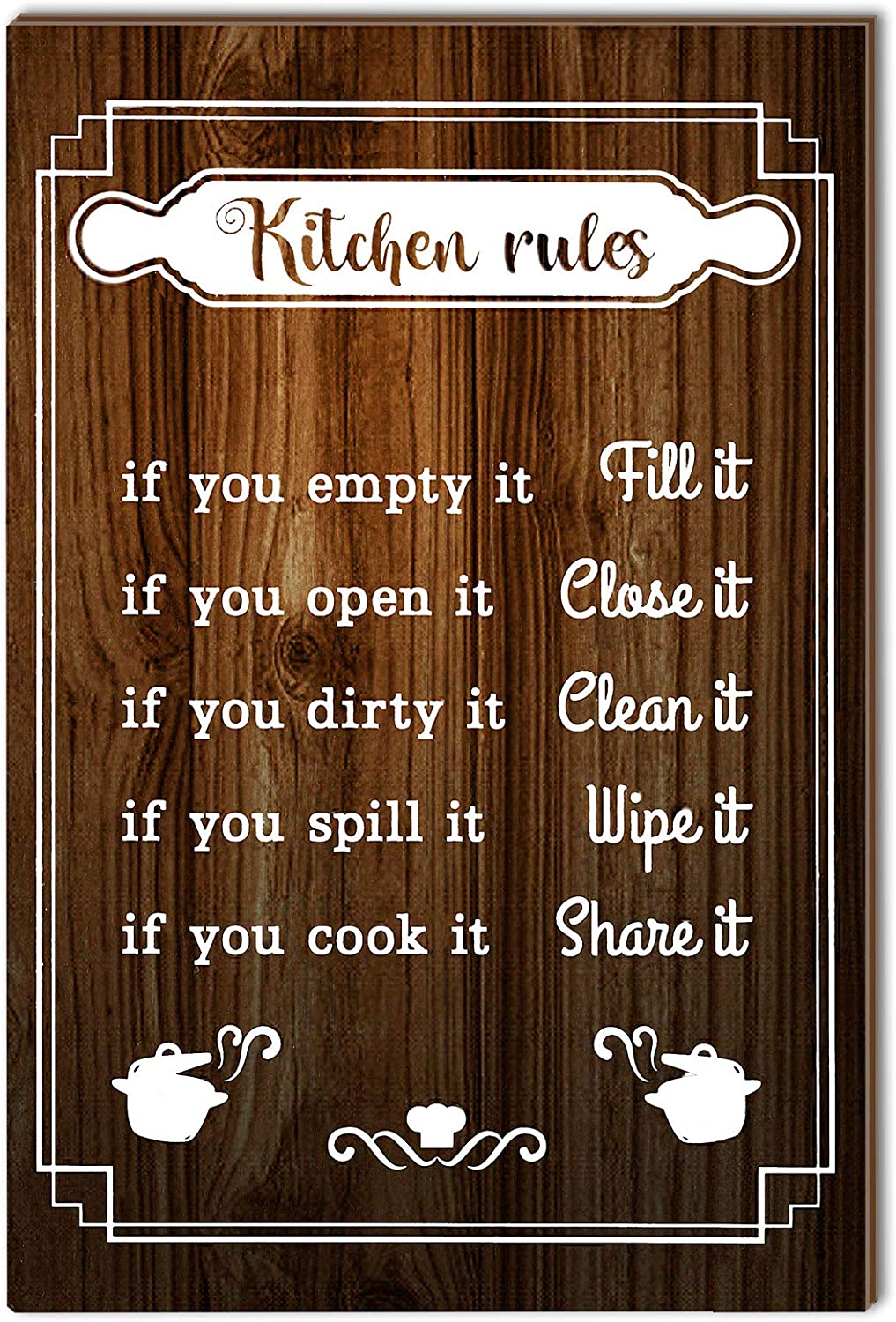 Jetec Kitchen Rules Sign Funny Kitchen Rules Wall Decor Rustic Wood Kitchen Sign Farmhouse Kitchen Wood Wall Art Decor Wood Plaque Hanging Sign for Home Housewarming Kitchen Decor, 12 x 8 Inch